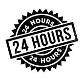 24 Hours rubber stamp. Grunge design with dust scratches. Effects can be easily removed for a clean, crisp look. Color is easily changed Stock Images
