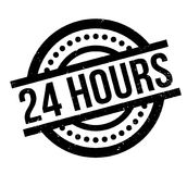 24 Hours rubber stamp. Grunge design with dust scratches. Effects can be easily removed for a clean, crisp look. Color is easily changed Stock Photo