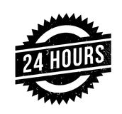 24 Hours rubber stamp. Grunge design with dust scratches. Effects can be easily removed for a clean, crisp look. Color is easily changed Stock Image
