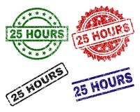Grunge Textured 25 HOURS Stamp Seals. 25 HOURS seal prints with damaged texture. Black, green,red,blue vector rubber prints of 25 HOURS caption with dirty Royalty Free Stock Image