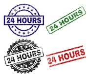 Damaged Textured 24 HOURS Stamp Seals. 24 HOURS seal prints with damaged texture. Black, green,red,blue vector rubber prints of 24 HOURS title with retro texture Royalty Free Stock Photos