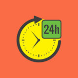 24 hours service concept. Flat design. On color background Royalty Free Stock Photography