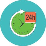 24 hours service concept. Flat design. Icon in turquoise circle on white background Stock Photos