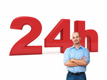 24 hours service. Confident man and 3d 24h text Royalty Free Stock Photography