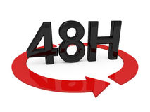 48 hours service. 3d image of 48h on white background Stock Image