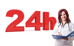 24 hours service. 3d image of 24h and woman doctor Royalty Free Stock Images