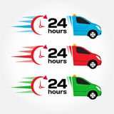 24 hours service emergency car. Car 24 hours. Blue, red, green emergency/urgent car. Shipping car. Delivery car. Vector set. 24 hours service emergency car. Car Stock Photo