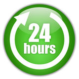 24 hours service. Green icon vector illustration