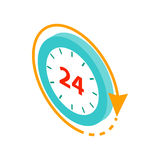 24 hours service icon, isometric 3d style Royalty Free Stock Photo