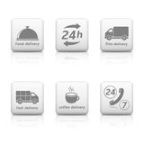 24 Hours Service Icons. 24 Hours Service, web buttons. Delivery icons Royalty Free Stock Photography