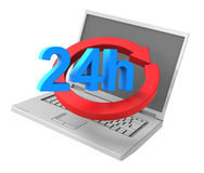 24 hours service sign. Royalty Free Stock Photo