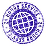Scratched Textured 24 HOURS SERVICE Stamp Seal. 24 HOURS SERVICE stamp print with grunge texture. Blue vector rubber seal print of 24 HOURS SERVICE caption with Stock Photos