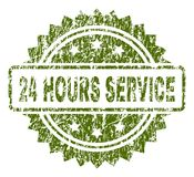 Scratched Textured 24 HOURS SERVICE Stamp Seal. 24 HOURS SERVICE stamp seal watermark with rubber print style. Green  rubber print of 24 HOURS SERVICE label with Stock Image
