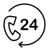 24 Hours Service Support Pixel Perfect Vector Thin Line Icon 48x48. Simple Minimal Pictogram Stock Image