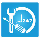 24 hours service. Symbol in blue button Stock Photos