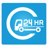 24 hours service. Symbol in blue button Royalty Free Stock Image