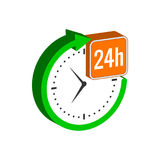 24 hours service symbol. Flat Isometric Icon or Logo. 3D Style Pictogram for Web Design, UI, Mobile App, Infographic. Vector Illustration on white background Royalty Free Stock Photos