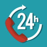 24 hours service symbol. Illustration design Stock Photography