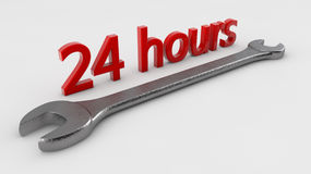 24 hours service. And wrench stock image