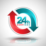 24 hours services banner. Vector illustration Royalty Free Stock Photo