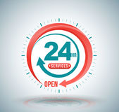 24 hours services banner. Vector illustration Royalty Free Stock Images