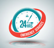 24 hours services banner. Vector illustration royalty free illustration
