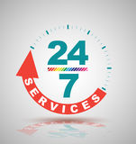 24 hours services banner. Vector illustration Royalty Free Stock Photos