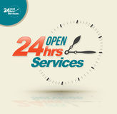 24 hours services banner. Vector illustration Stock Image