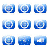 24 Hours Services Square Vector Blue Icon Royalty Free Stock Photos