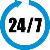 24 hours seven days a week. Icon with blue arrow Royalty Free Stock Image