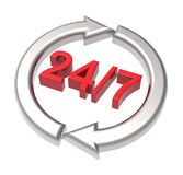 24 hours seven days a week sign over white. Stock Image