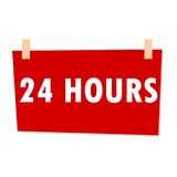 24 Hours Sign - illustration. 24 Hours Sign - simple vector illustration Royalty Free Stock Photo