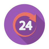 Hours 24. 24 hours. Single flat color icon. Vector illustration royalty free illustration