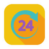 Hours 24. 24 hours. Single flat color icon. Vector illustration Stock Image