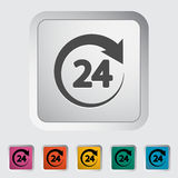 Hours 24. 24 hours. Single flat icon on the button. Vector illustration Royalty Free Stock Image