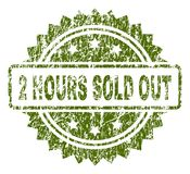 Scratched Textured 2 HOURS SOLD OUT Stamp Seal. 2 HOURS SOLD OUT stamp seal watermark with rubber print style. Green  rubber print of 2 HOURS SOLD OUT label with Royalty Free Stock Photo