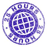 Scratched Textured 25 HOURS Stamp Seal. 25 HOURS stamp imprint with grunge style. Blue vector rubber seal imprint of 25 HOURS label with grunge texture. Seal has Stock Images