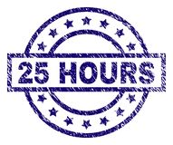 Scratched Textured 25 HOURS Stamp Seal. 25 HOURS stamp seal watermark with grunge texture. Designed with rectangle, circles and stars. Blue vector rubber print Royalty Free Stock Image