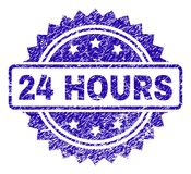 Scratched 24 HOURS Stamp Seal. 24 HOURS stamp watermark with corroded style. Blue vector rubber seal print of 24 HOURS caption with corroded texture Royalty Free Stock Image