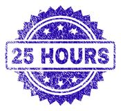 Scratched 25 HOURS Stamp Seal. 25 HOURS stamp watermark with corroded style. Blue vector rubber seal print of 25 HOURS label with scratched texture Stock Photos