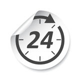 24 Hours sticker label. Vector illustration. 24 Hours sticker label. Vector illustration Stock Photos