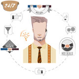 24 hours support call center operator, service icons, business concept. Illustration Royalty Free Stock Image