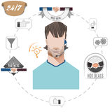 24 hours support call center operator, service icons, business concept Stock Photo