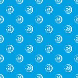 24 hours support pattern vector seamless blue. Repeat for any use Royalty Free Stock Photo