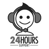 24 hours support vector face and headset icon. Customer support service chat or virtual assistant icons set. Vector isolated smile face in earphone headset web Royalty Free Stock Photography