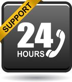 24 hours support web button black. Vector illustration isolated on white background - 24 hours support web button black Royalty Free Stock Photo