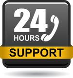 24 hours support web button black. Vector illustration isolated on white background - 24 hours support web button black Stock Photo