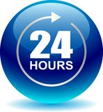 24 hours support web button blue. Vector illustration isolated on white background - 24 hours support web button blue Royalty Free Stock Image
