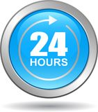24 hours support web button blue. Vector illustration isolated on white background - 24 hours support web button blue Stock Photo