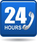 24 hours support web button blue. Vector illustration isolated on white background - 24 hours support web button blue Royalty Free Stock Images